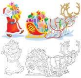 Santa charge des cadeaux dans un traîneau Image libre de droits