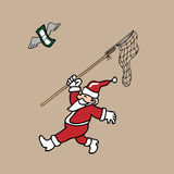Santa chasing flying banknote by net cartoon Stock Photos