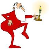 Santa che cammina in punta di piedi con un candeliere Fotografia Stock Libera da Diritti