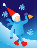 Santa che cammina in una neve Fotografie Stock Libere da Diritti