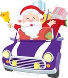Santa che conduce automobile Fotografia Stock Libera da Diritti