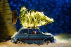 Santa che consegna l'albero del nuovo anno o di Natale immagini stock