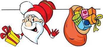 Santa che dà una occhiata intorno alle zone non edificate e che tiene i regali illustrazione di stock