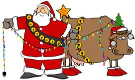 Santa che decora la sua mucca di natale Immagini Stock Libere da Diritti