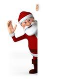 Santa che fluttua con il segno in bianco Fotografia Stock Libera da Diritti