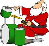 Santa che gioca i tamburi Fotografie Stock