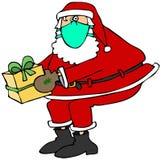 Santa che indossa una maschera di protezione Immagine Stock Libera da Diritti