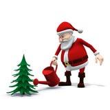 Santa che innaffia un albero di pino Immagini Stock
