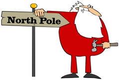 Santa che installa un segno del polo nord illustrazione di stock