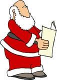 Santa che legge il documento Fotografia Stock