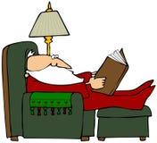 Santa che legge un libro illustrazione vettoriale