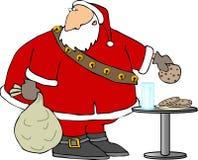 Santa che mangia i biscotti e latte illustrazione di stock