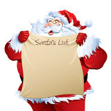 Santa che mostra la sua lista Fotografia Stock Libera da Diritti
