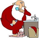 Santa che pulisce i suoi denti Fotografia Stock Libera da Diritti