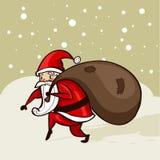 Santa che rubacchia nella neve Fotografia Stock Libera da Diritti