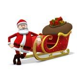 Santa che si appoggia contro la sua slitta Fotografie Stock
