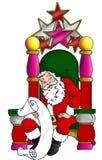 Santa che si siede nella sua sedia Fotografie Stock Libere da Diritti