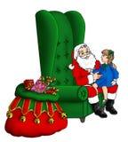 Santa che si siede in una sedia alta della parte posteriore dell'ala Fotografia Stock Libera da Diritti