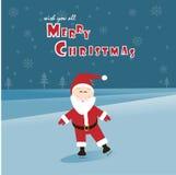 Santa che skatting sul ghiaccio Fotografia Stock