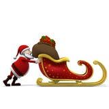 Santa che spinge slitta Immagine Stock