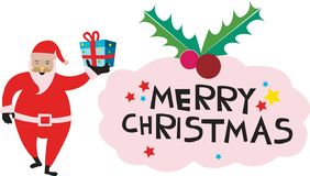 Santa che tiene il regalo di Natale che dice il Buon Natale fotografie stock libere da diritti