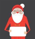 Santa che tiene un'insegna con il posto per il vostro testo illustrazione di stock