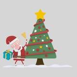 Santa che tiene una campana nella parte anteriore su poco albero di natale 3d Fotografia Stock Libera da Diritti