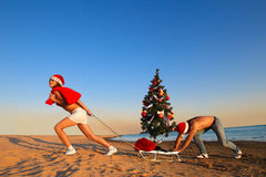 Santa che tira l'albero di Natale Immagini Stock