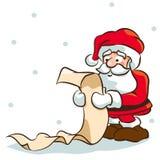 Santa checking list. Cartoon of Santa Claus checking a list Stock Images