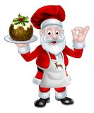 Santa Chef Holding un pudín de la Navidad libre illustration