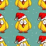 Santa Chicken Seamless Pattern Immagini Stock Libere da Diritti
