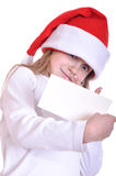 Santa child with a banner royalty free stock photography