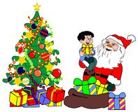 Santa with child and christmas tree Stock Images
