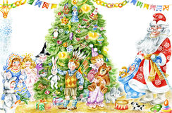 Santa and children by Christmas tree. Cartoon illustration represents two boys, reciting poetry by the Christmas tree, smiling children and Santa. With copy Royalty Free Stock Photo