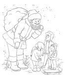 Santa with children outlined Royalty Free Stock Photography