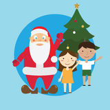 Santa and children and tree. Stock Image