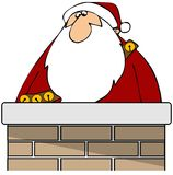 Santa in a chimney Royalty Free Stock Photography