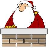 Santa in a chimney Royalty Free Stock Photography