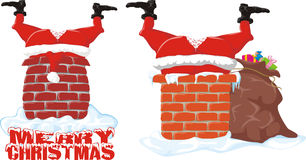 Santa in the chimney Stock Photos