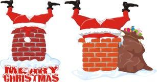 Santa in the chimney Stock Photos