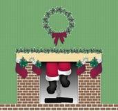 Santa Chimney. Illustration of Santa coming down the chimney Stock Photo