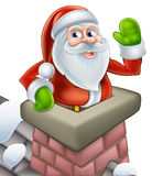 Santa in chimney christmas cartoon Stock Image