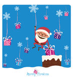 Santa & Chimney & Christmas Gifs Royalty Free Stock Image
