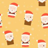 Santa and chimney, christmas seamless pattern theme, for use as stock illustration
