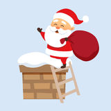 Santa in chimney. Santa Claus Christmas illustration. Santa Claus climbs on the roof chimney on the stairs and hold bag . Christmas character design. Father Royalty Free Stock Images