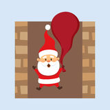 Santa in chimney. Santa Claus Christmas illustration. Santa Claus hold bag and falls down the chimney . Christmas character design. Father Frost Royalty Free Stock Photography