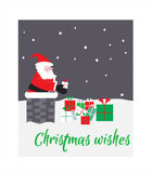 Santa in the chimney with gifts. Christmas card. vector. Santa Claus gift picks at the chimney Royalty Free Stock Images
