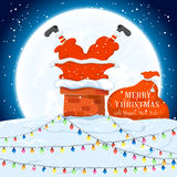 Santa in the chimney on the roof Royalty Free Stock Photos