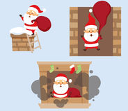 Santa and chimney set. Santa Claus Christmas set. Santa Claus climbs on the roof chimney on the stairs and hold bag, falls down the chimney and fell into the Stock Photos