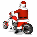 Santa Chopper 2. Santa looking cool with a bit of an attitude on his shiny new red and chrome chopper Stock Photos